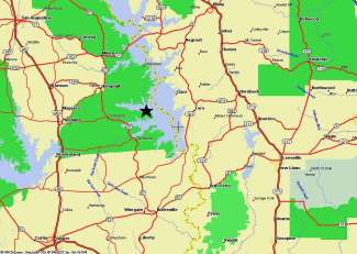 Maps directions to fox 39 s lodge on toledo bend lake for Toledo bend fishing map